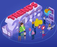 Тенденции в социальной сети 2018 Плоское равновеликое знамя 3d Chatbot, видео- передача, рассказы, продвижение SMM, онлайн аналит Стоковая Фотография RF