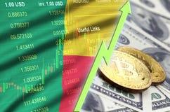 Тенденция флага и cryptocurrency Бенина растя с 2 bitcoins на долларовых банкнотах иллюстрация штока