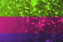 Тенденция 2019 цветов Трио яркой цвета неон розовой пластмассы, зеленый цвет ufo, пурпур протона, тонизированное фото абстрактное стоковое изображение rf