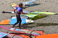 ТЕНЕРИФЕ 11-ОЕ АВГУСТА: PWA занимаясь серфингом, 11-ое августа 2017 Тенерифе Стоковые Фотографии RF