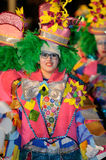 ТЕНЕРИФЕ, 17-ОЕ ФЕВРАЛЯ: Группы масленицы и костюмированные характеры Стоковые Фотографии RF