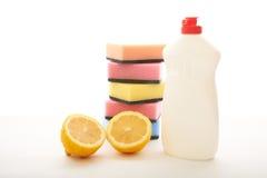Тензид и tangerines на белой предпосылке с лимоном Стоковая Фотография RF