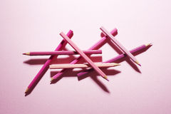 Тени карандашей розовые стоковые фотографии rf