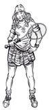 Теннисист девушки Иллюстрация штока