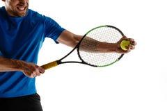 Теннисист заискивая вниз со смотреть нанесенный поражение и грустный стоковая фотография rf