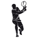 Теннисист, силуэт Стоковые Фото