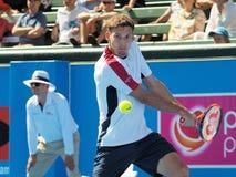 Теннисист Pablo Carreno Busta подготавливая для открытого чемпионата Австралии по теннису на турнире выставки Kooyong классическо стоковое фото rf