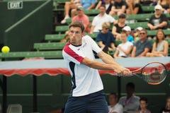 Теннисист Pablo Carreno Busta подготавливая для открытого чемпионата Австралии по теннису на турнире выставки Kooyong классическо стоковые изображения rf