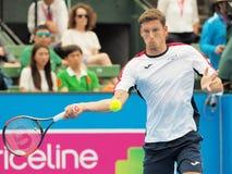 Теннисист Pablo Carreno Busta подготавливая для открытого чемпионата Австралии по теннису на турнире выставки Kooyong классическо стоковые изображения
