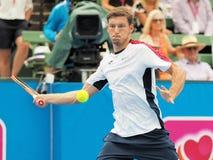 Теннисист Pablo Carreno Busta подготавливая для открытого чемпионата Австралии по теннису на турнире выставки Kooyong классическо стоковое фото