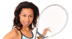 теннис девушки афроамериканца Стоковое фото RF