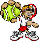 теннис ракетки игрока малыша удерживания шарика Стоковая Фотография RF