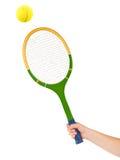 теннис ракетки руки шарика стоковые фото