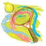 теннис ракетки шарика иллюстрация вектора