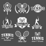 Теннис резвится логотип, ярлык, эмблема, элементы дизайна Стоковые Фото