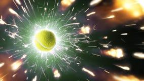 теннис Теннисный мяч Предпосылка тенниса с пламенистыми искрами в действии стоковое изображение rf