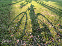 Тень велосипедиста в футбольном поле Стоковые Фото