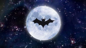 Тень летучей мыши на белой луне в космосе бесплатная иллюстрация