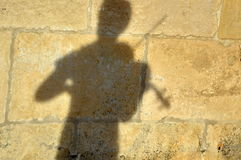 Тень женщины играя скрипку Стоковые Фотографии RF