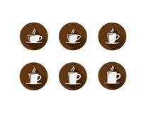 Тень значка кофейной чашки круглая длинная Стоковая Фотография RF
