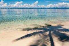 Тень кокосовой пальмы на пляже песка в фронте Стоковые Фото