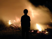 Тень на огне Стоковые Изображения