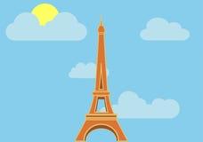 Тень плоского вектора Эйфелева башни длинная Иллюстрация вектора