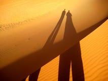 Тень друзей на золотых песчанных дюнах (пустыня Сахары) Стоковые Фотографии RF