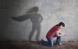Тень супергероя стоковая фотография rf