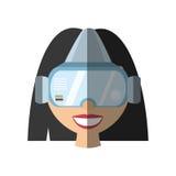 тень технологии стекел виртуальной реальности девушки Стоковая Фотография RF