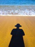 Тень ` s женщины на пляже Стоковое Изображение RF
