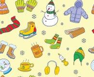 Теплая покрашенная картина элемента зимы doodle безшовная Стоковые Изображения
