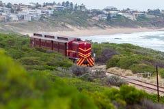 Тепловозный поезд 507 заменяя поезд куколя между Goolwa a Стоковое фото RF