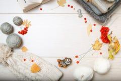 Теплые серые и голубые свитеры Связанная шляпа в белизне Путать белой и серой пряжи Вязать иглы Красная зола горы Осень выкрикива стоковое фото