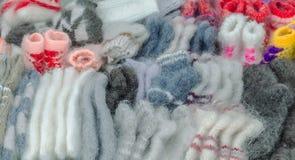 Теплые шерстяные продукты handmade для продажи Стоковое Изображение RF