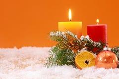 Теплая оранжевая тематическая предпосылка рождества Стоковые Изображения RF