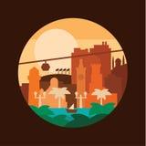 Теплая яхта солнца моря ладони иллюстрации здания города страны Стоковое Изображение RF