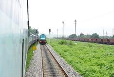 Moving тепловозный паровоз в поезде товаров Стоковое Изображение RF