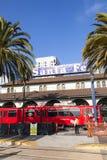 Тепловозный поезд приезжает на соединение Стоковое Изображение
