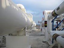 Теплообменные аппараты в рафинадном заводе Стоковая Фотография RF