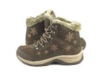 Теплые ботинки feamle зимы isloated на белизне Стоковое фото RF