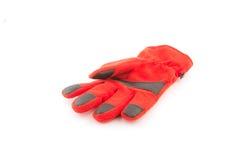 Теплые перчатки, красные перчатки шерстей на белой предпосылке Стоковое фото RF