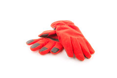 Теплые перчатки, красные перчатки шерстей на белой предпосылке Стоковые Изображения RF