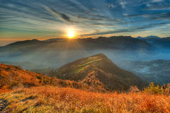 Теплый заход солнца высокогорная долина Стоковое Изображение RF