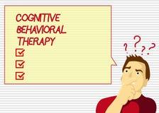 Терапия текста почерка когнитивная поведенческая Психологическое лечение смысла концепции для расстройств рассудка иллюстрация штока