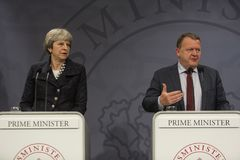Тереза может премьер-министр посещений датский в Copepenhagen стоковое фото rf