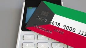 Терминал оплаты с кредитной карточкой отличая флагом Кувейта 3D анимация кувейтской национальной банковской системы схематическая бесплатная иллюстрация