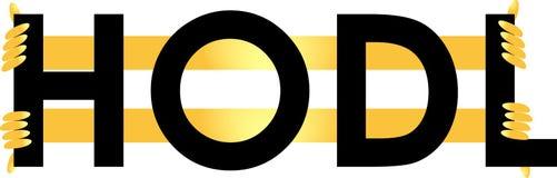 Термина в секретный-валюте торгует логотипом HODL основанным текстом стоковая фотография rf