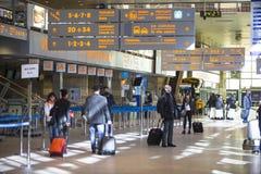 Терминальная зала международного аэропорта Кракова-Balice Иоанна Павел II John Paul II отпраздновала свою пятидесятую годовщину Стоковые Изображения RF