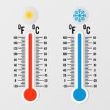Термометры в плоском стиле холодный горячий вектор термометра температуры Элемент дизайна метеорологии иллюстрация штока